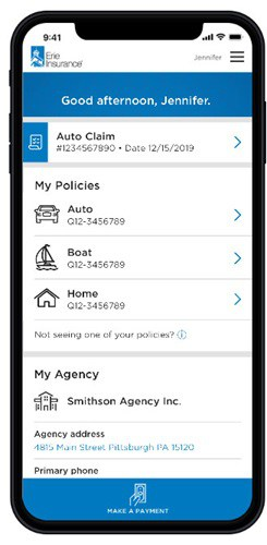 phone screen showing the erie insurance mobile app