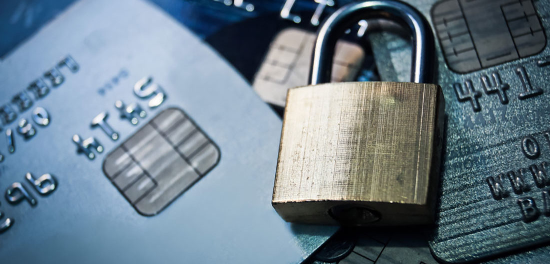 a lock on top of credit cards